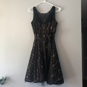Black Laced Betsy Adam Cocktail Dress